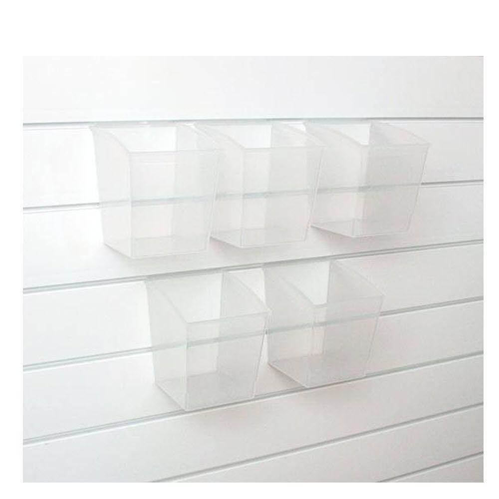 Martha Stewart Living Garage 7.5 in. H x 7 in. W Holds 66 lbs. Deep Slat Wall Bins in Clear (Set of 5)