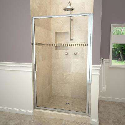 1100 Series 33-3/4 in. W x 70-1/2 in. H Framed Swing Shower Door in Polished Chrome with Pull Handle and Clear Glass