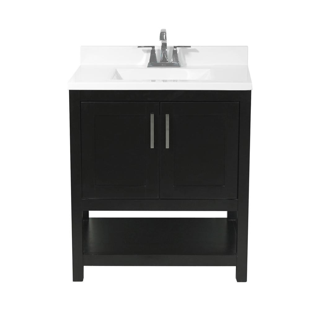 Tufino 31 in. Bath Vanity in Espresso with Cultured Marble Vanity Top w/ Backsplash in White with White Basin