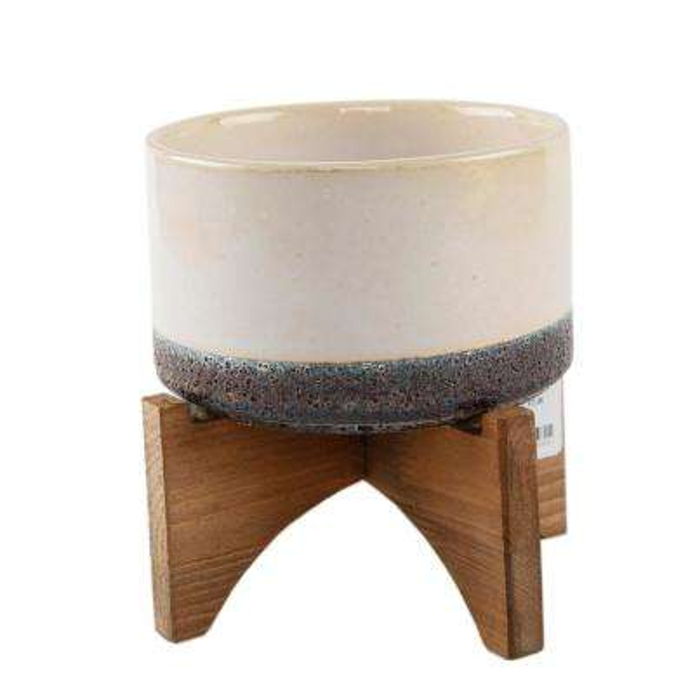 5.1 in. Gray Ceramic Lava Pot on Wood Stand Mid-Century Planter