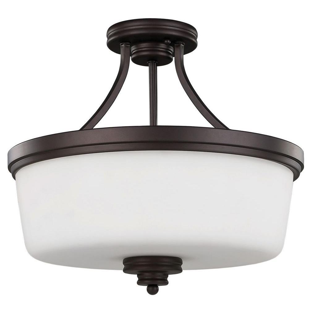Jackson 3-Light Oil Rubbed Bronze Semi-Flush Mount Light