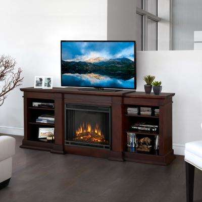 Fresno 72 in. Media Console Electric Fireplace in Dark Walnut