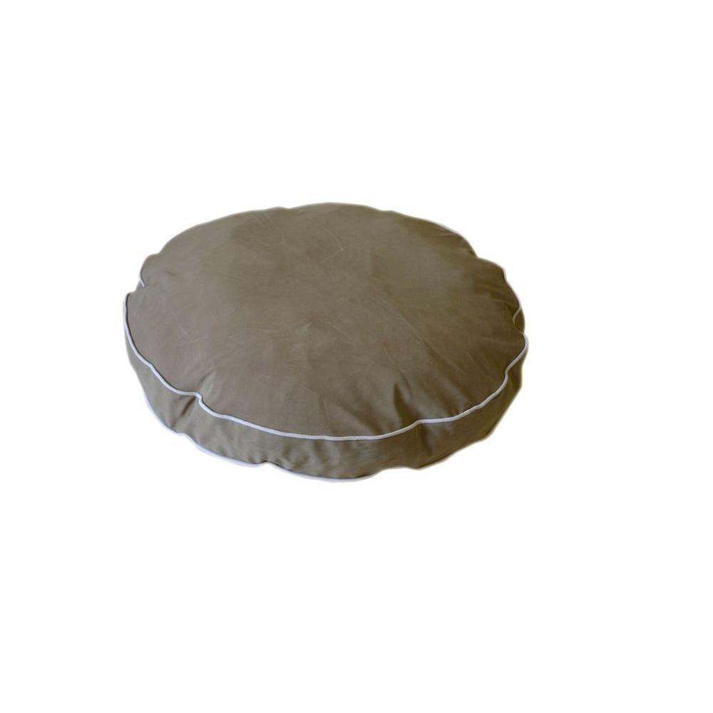null Small Microfiber Round-A-Bout Dog Bed - Sage with Linen Piping