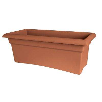 Veranda 26 in. Terra Cotta Plastic Deck Box Planter
