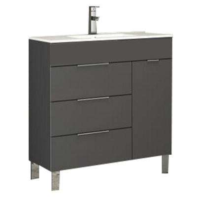 Geminis 28 in. W x 18 in. D x 34 in. H Vanity in Gray with Porcelain Top in White with White Basin