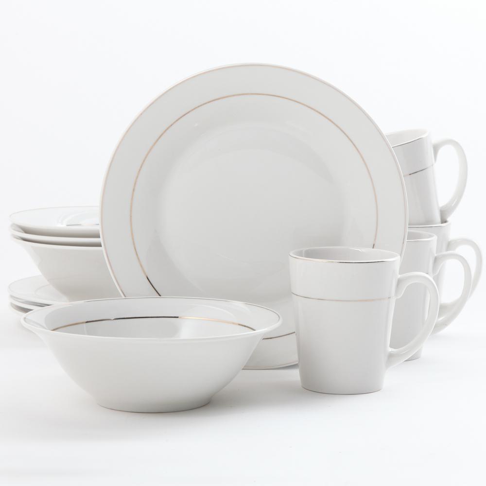 Tuxedo Deluxe 12-Piece White Dinnerware Set
