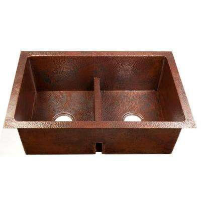Degas Low-Divide Undermount Handmade Pure Solid Copper 36 in. Double Bowl 50/50 Kitchen Sink in Aged Copper