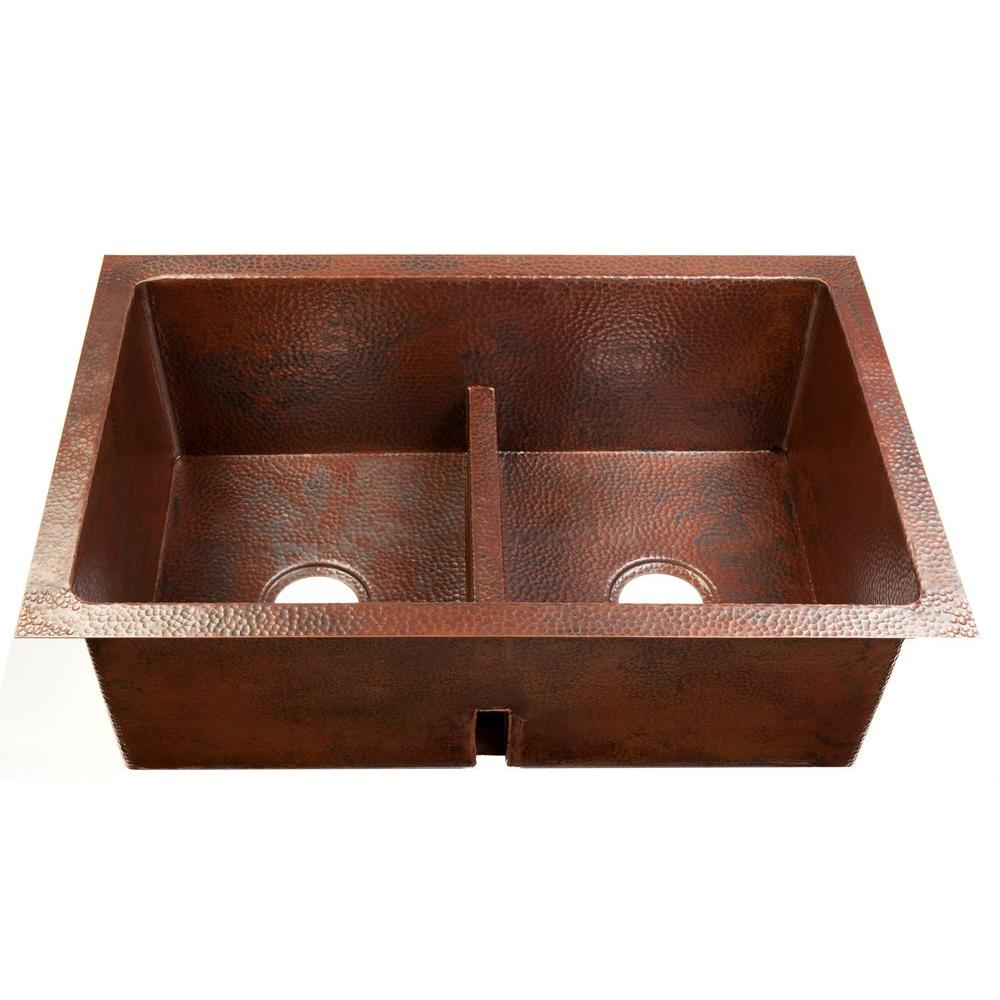 SINKOLOGY Degas Low-Divide Undermount Handmade Pure Solid Copper 46 in. Double Bowl 50/50 Kitchen Sink in Aged Copper