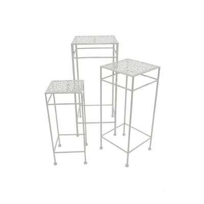 Shiny White Square Plant Stand (Set of 3)
