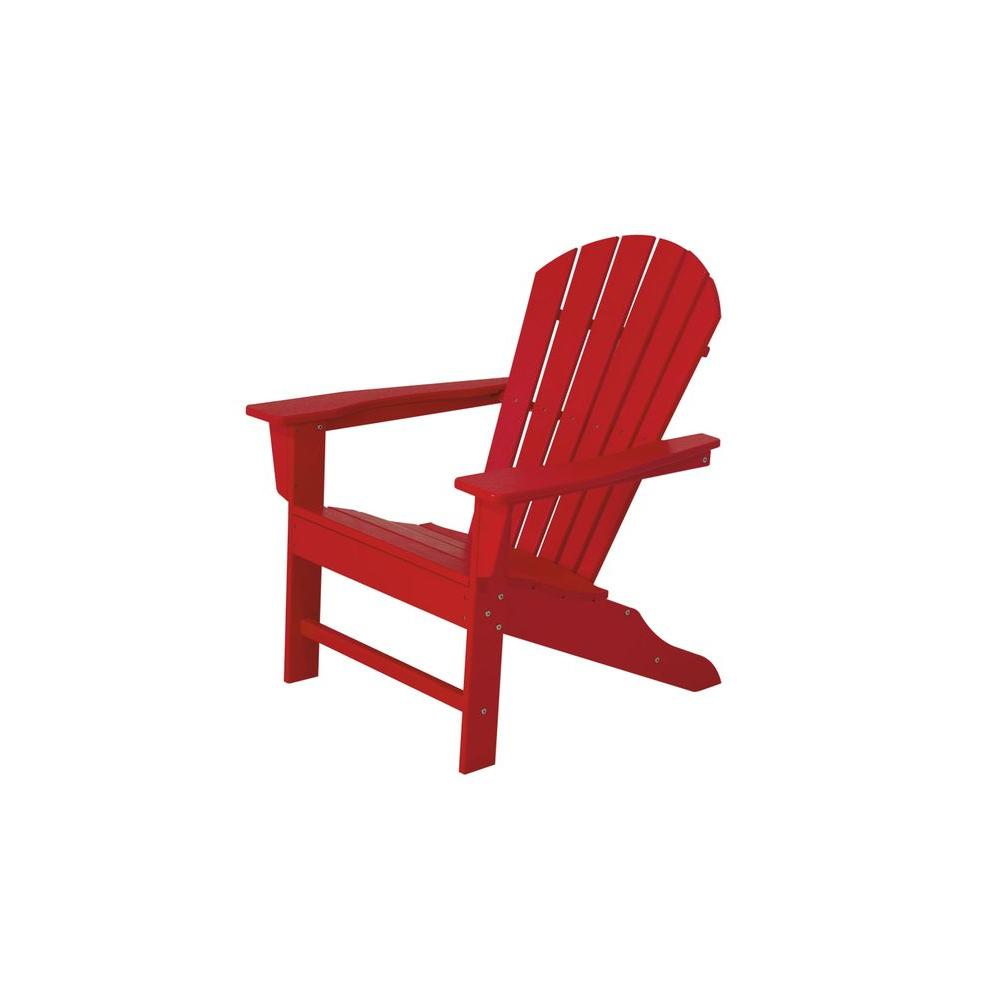 POLYWOOD South Beach Sunset Red Plastic Patio Adirondack Chair