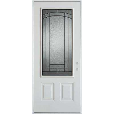 32 in. x 80 in. Chatham Patina 3/4 Lite 2-Panel Painted White Left-Hand Inswing Steel Prehung Front Door