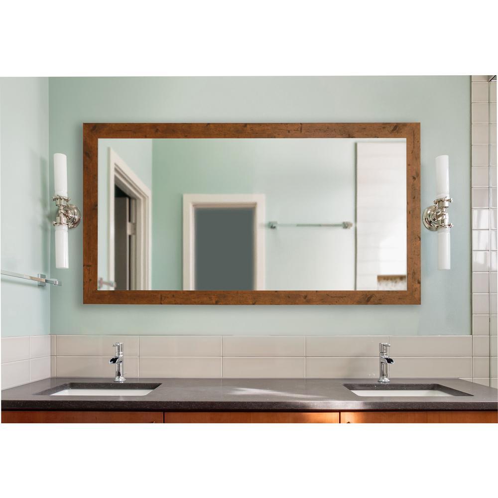 72 in. x 39 in. Rustic Light Walnut Double Vanity Mirror