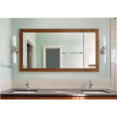 64 in. x 35 in. Rustic Light Walnut Extra Large Vanity Mirror