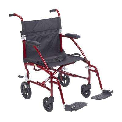 Fly Lite Ultra Lightweight Burgundy Transport Wheelchair