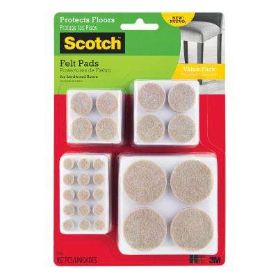 Scotch Multi Size Beige Round Surface Protection Felt Floor Pads Value Pack ((162-Pack)(Case of 24))
