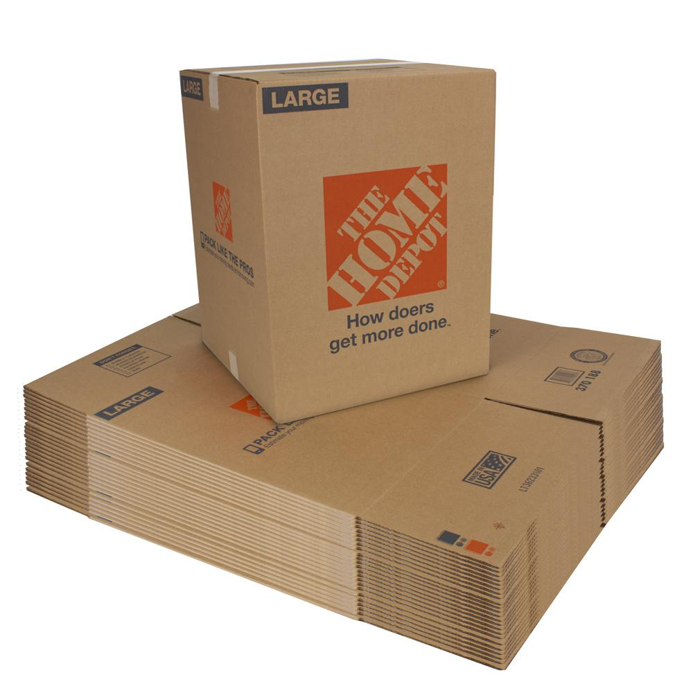 The Home Depot 18 in. L x 18 in. W x 24 in. D Large Moving Box (25 Pack)