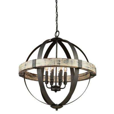 6-Light Distressed Wood and Black Chandelier