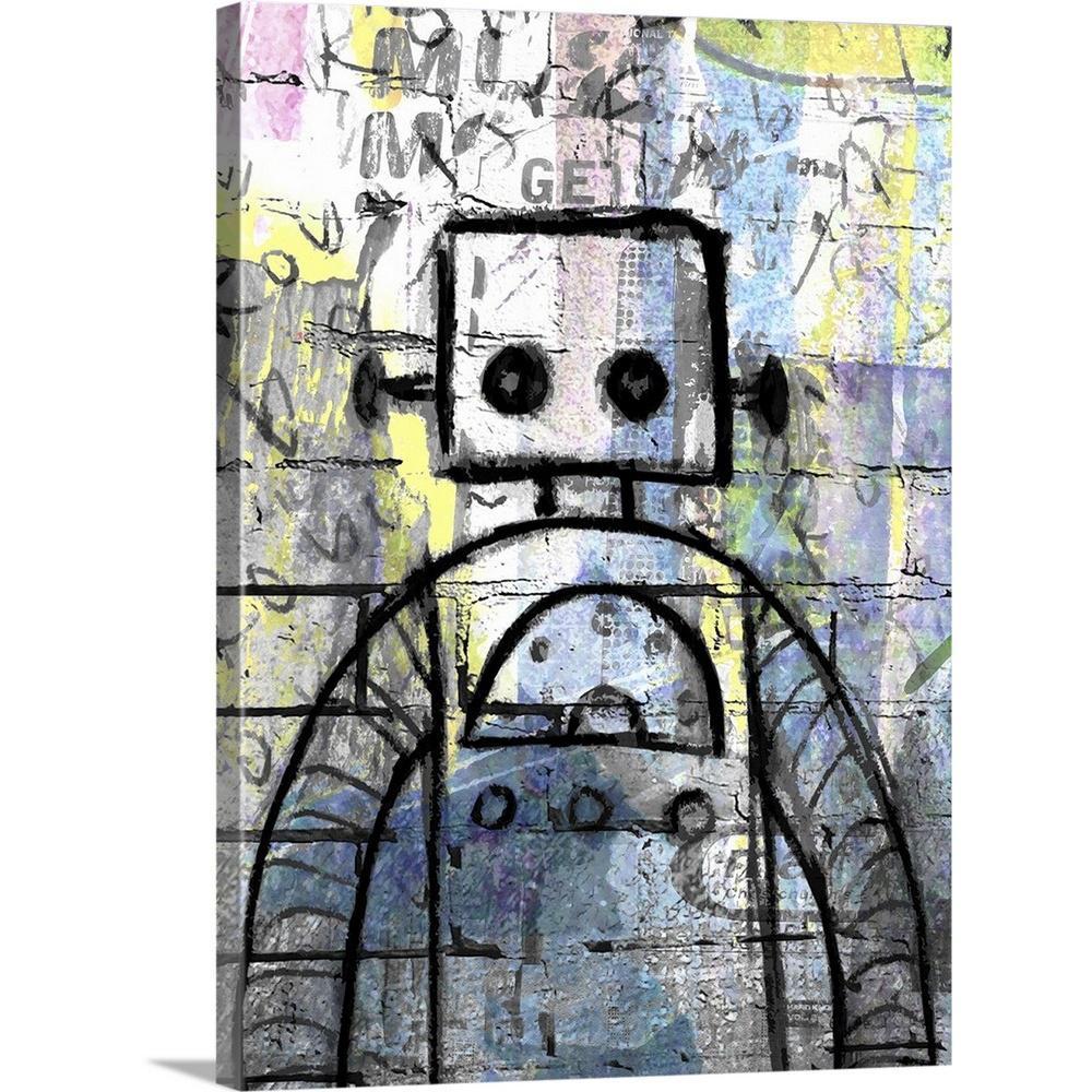 Graffiti Robot Color By Roseanne Jones Canvas Wall Art