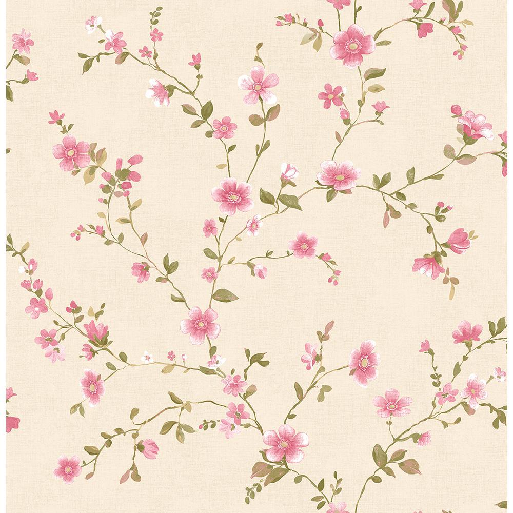 Brewster Delphine Pink Floral Trail Wallpaper 2704-22249
