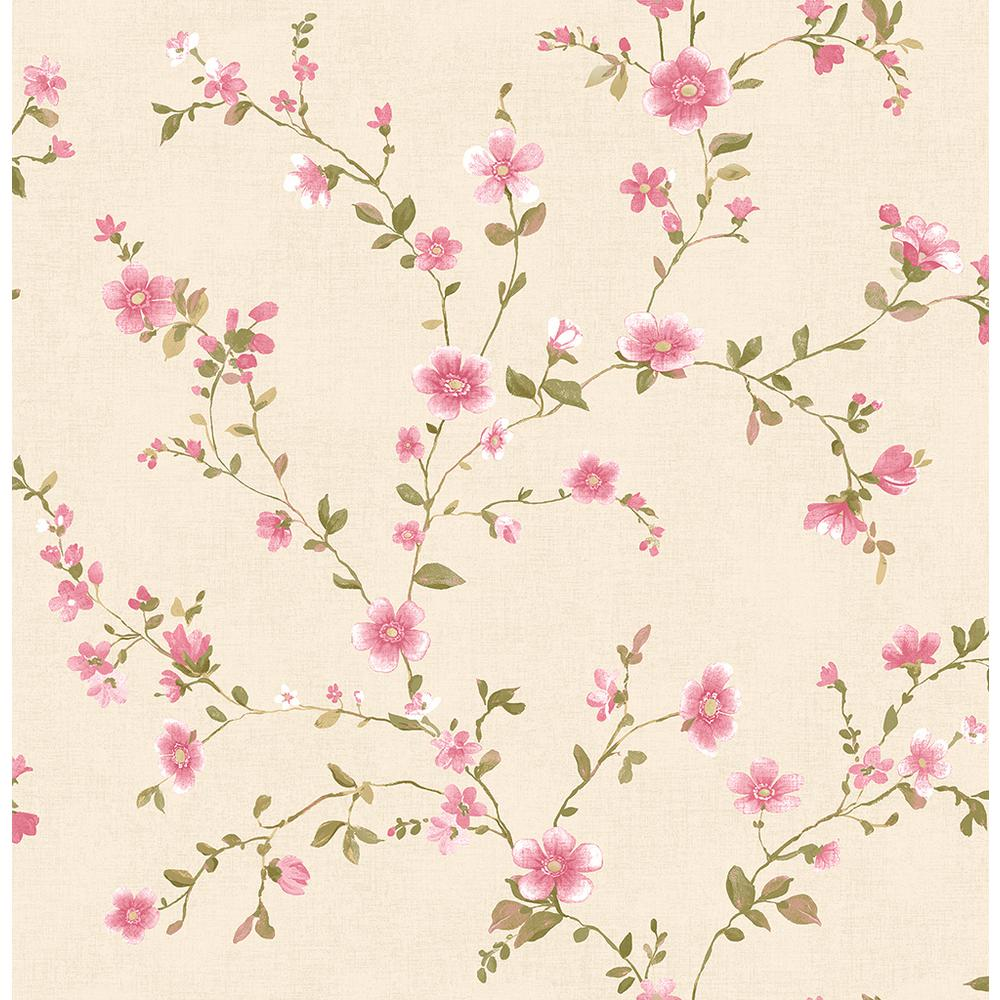 Delphine Pink Floral Trail Paper Strippable Wallpaper (Covers 56.4 sq. ft.)