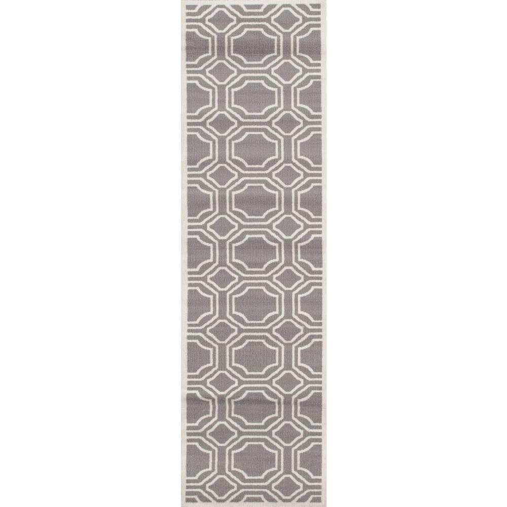 Modern Geometric Gray 2 ft. x 7 ft. 2 in. Runner