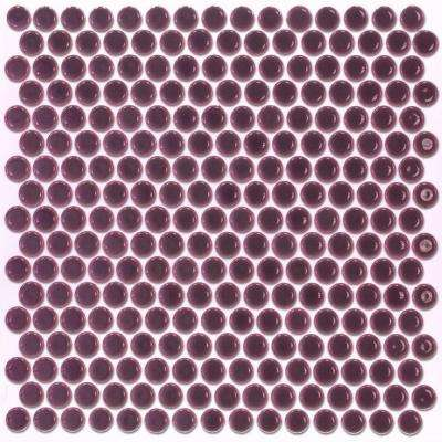 Bliss Edged Penny Round Polished Plum Ceramic Mosaic Floor and Wall Tile - 3 in. x 6 in. Tile Sample