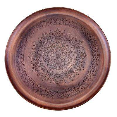 16 in. Dia Casablanca Antique Copper Etched Tray