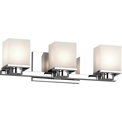 Sharyn 3-Light 8 in. Chrome Indoor Bathroom Vanity Wall Sconce or Wall Mount with Frosted Glass Square Rectangle Shades