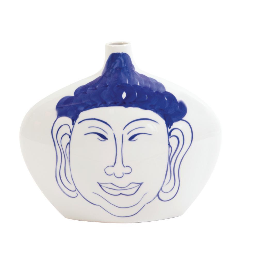 Small Blue and White Ceramic Buddha Decorative Vase