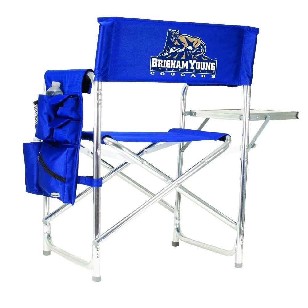 Picnic Time Brigham Young University Navy Sports Chair wi...