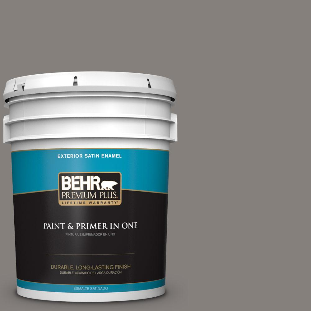5 gal. #PPU18-17 Suede Gray Satin Enamel Exterior Paint