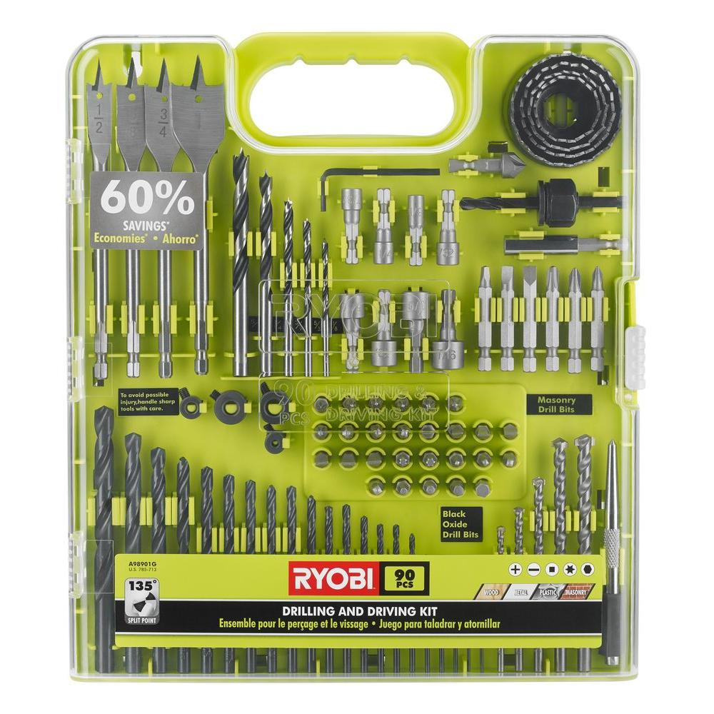 ryobi drill and drive kit 90 piece a98901g the home depot. Black Bedroom Furniture Sets. Home Design Ideas