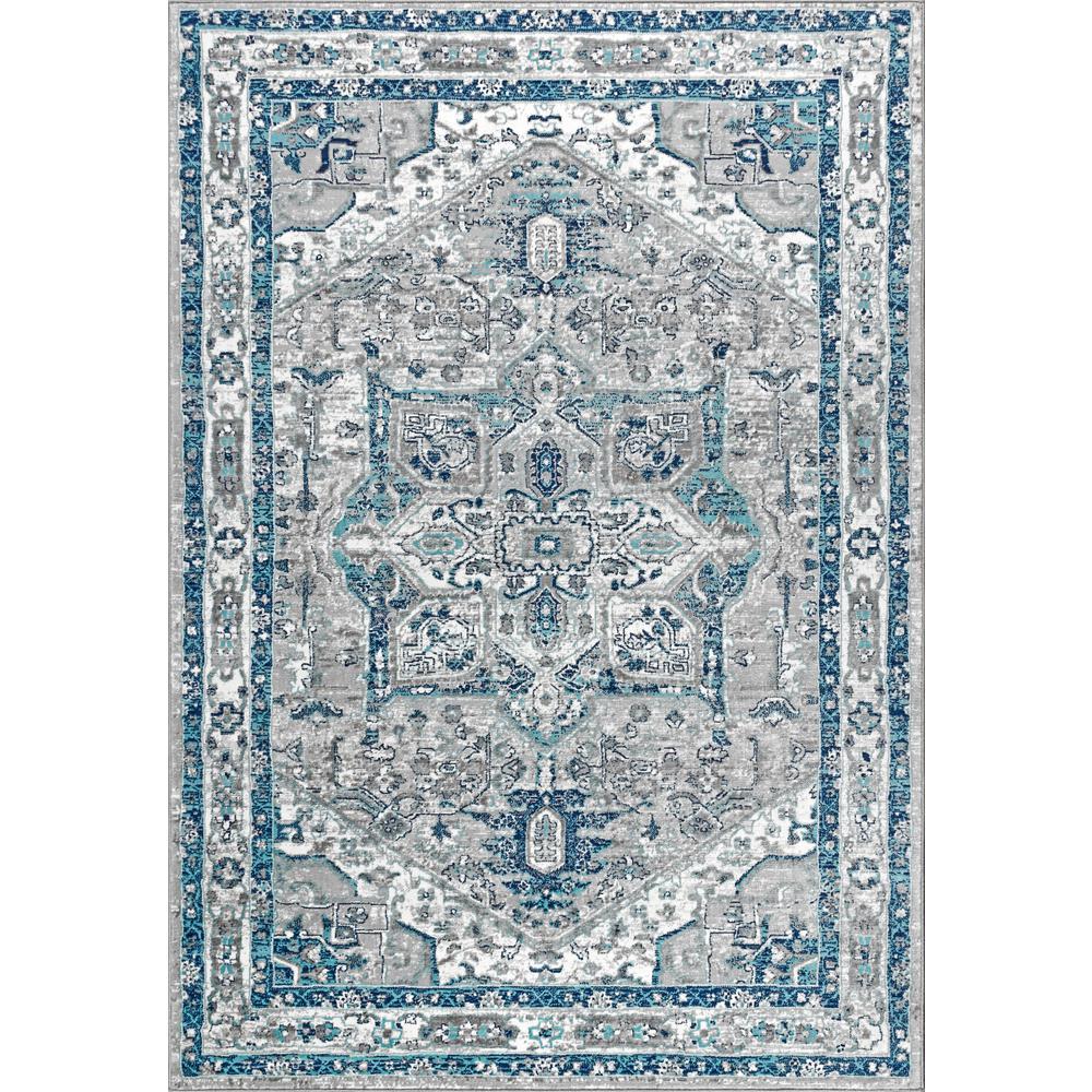 Modern Persian Vintage Medallion Light Grey/Blue 8 ft. x 10 ft. Area Rug