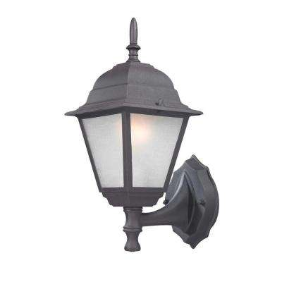 Traditional Wall-Mount 14.25 in. Black Outdoor Lantern with White Glass