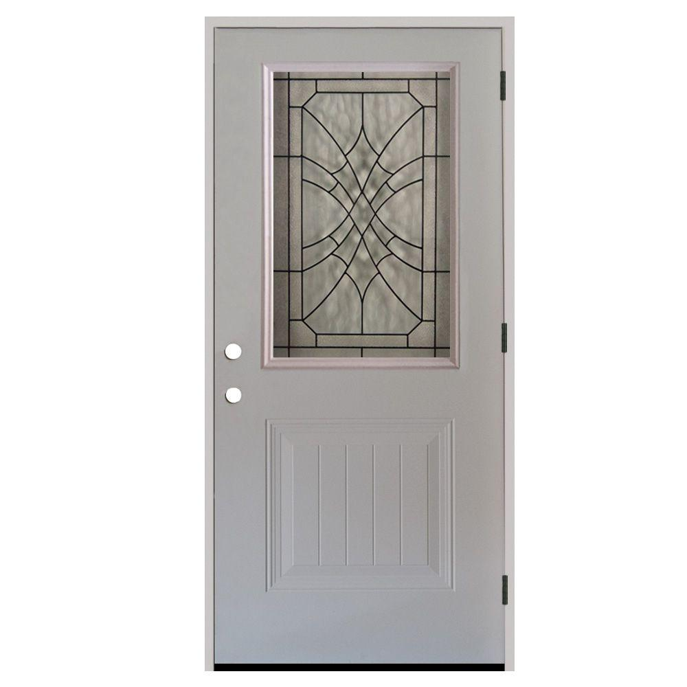 Steves & Sons 34 in. x 80 in. Webville 1/2 Lite Plank Panel Primed White Steel Prehung Front Door