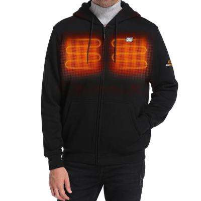 Men's Large 7.4-Volt Lithium-Ion Black Full Zip Heated Hoodie Jacket with One 5.2Ah Battery and Charger