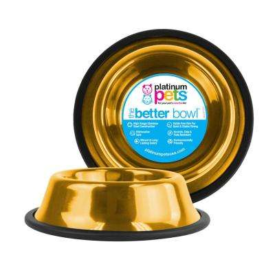 Platinum Pets 6.25 Cup Non-Tip Stainless Steel Dog Bowl, 24K Gold