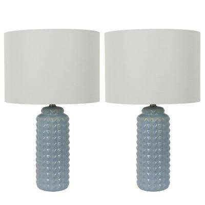 Felix 24 in. Gray Table Lamp with Linen Shade