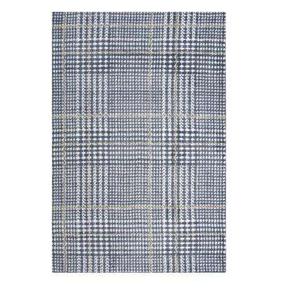 Kaja Abstract Plaid 5 ft. x 8 ft. Area Rug in Ivory, Cadet Blue and Citron
