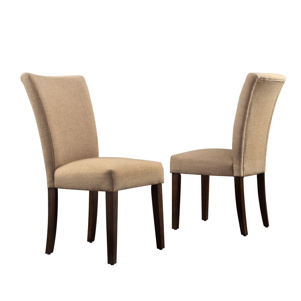 homesullivan whitmire camel linen parsons dining chair set of 2 40721lbls2pc the home depot. Black Bedroom Furniture Sets. Home Design Ideas