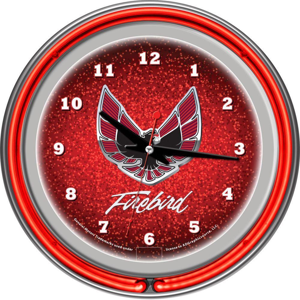 Trademark Global 14 in. Pontiac Firebird Red Chrome Double Ring Neon Wall Clock