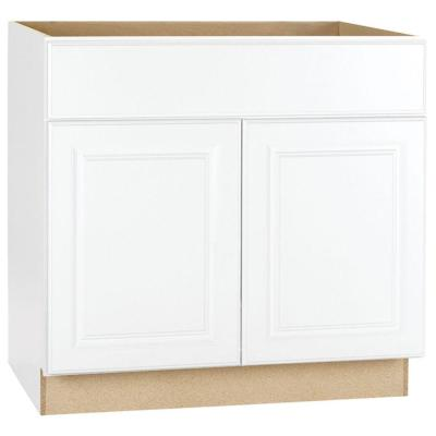 Hampton Assembled 36 in. x 34.5 in. x 24 in. Sink Base Kitchen Cabinet in Satin White