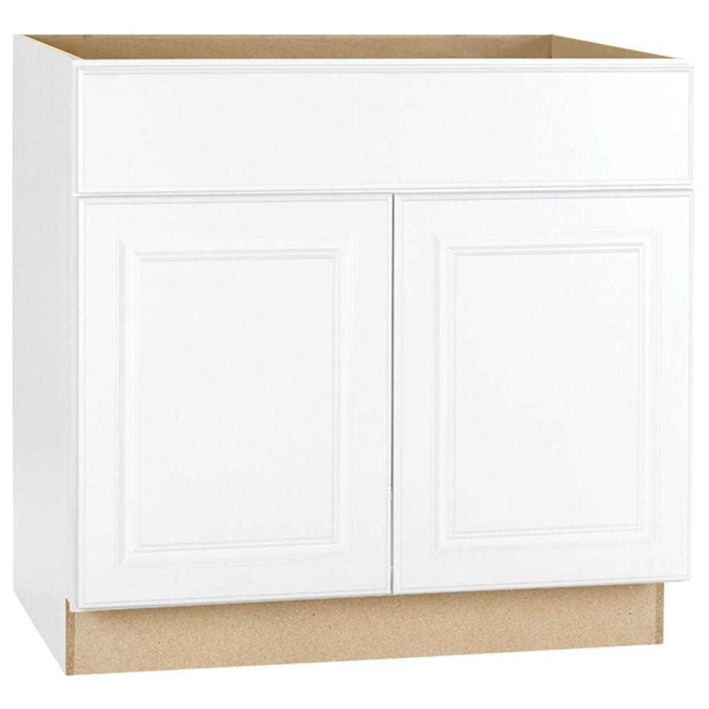 Hampton Bay Hampton Assembled 36 in. x 34.5 in. x 24 in. Sink Base Kitchen Cabinet in Satin White