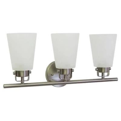 3-Light 20.5 in. Brushed Nickel Vanity Light with Frosted Glass Shades