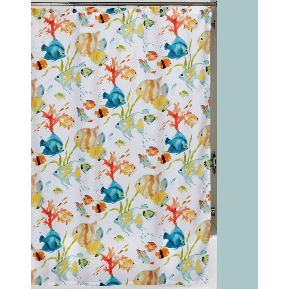 Rainbow Fish 72 in. x 72 in. Tropical-Themed Shower Curtain Set