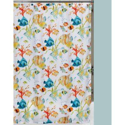 orange floral shower curtain. Tropical Themed Shower Curtain Set Mildew Resistant  Curtains Accessories The Home Depot
