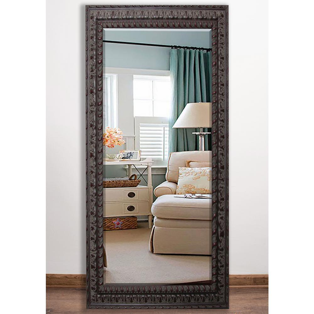 32 in. x 65.5 in. Dark Embellished Beveled Full Body Mirror