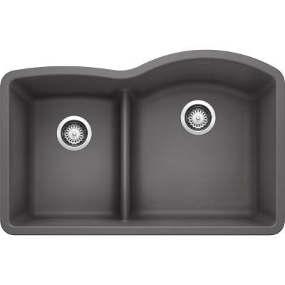 DIAMOND Undermount Granite Composite 32 in. 40/60 Double Bowl Kitchen Sink with Low Divide in Cinder