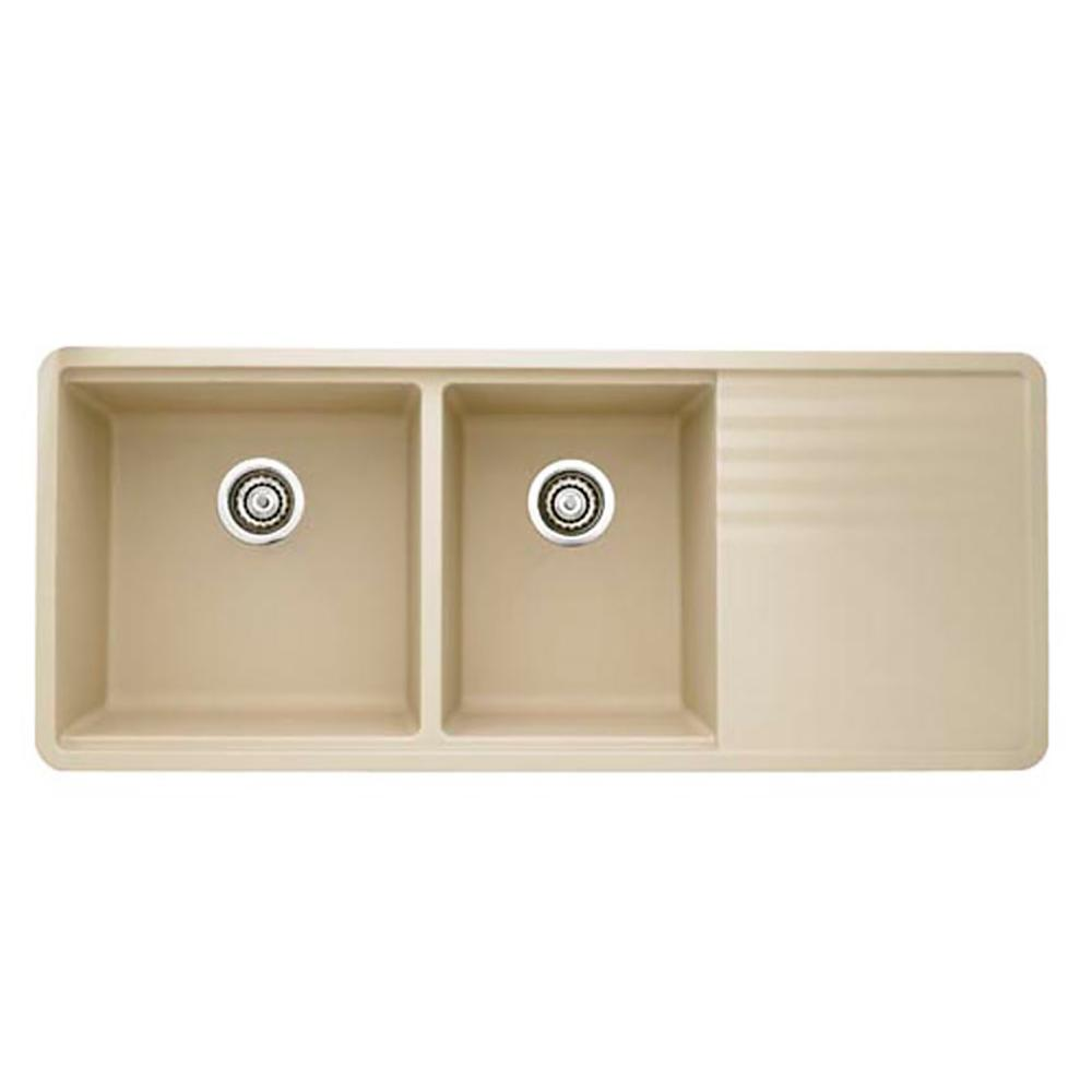 Blanco PRECIS Undermount Granite Composite 48 in. 60/40 Double Bowl Kitchen Sink with Drainer in Biscotti was $1192.75 now $596.38 (50.0% off)