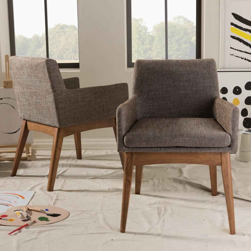 Superior Baxton Studio Nexus Gray Fabric Upholstered Dining Chairs (Set Of 2)